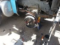 Doing steer axle brakes and wheel seal on a peterbilt dump truck